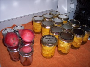 Canned pears and peaches