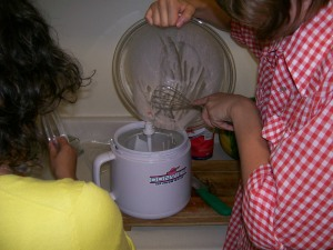 Pouring the ice cream mix into the mixer
