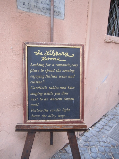 The Library restaurant sign