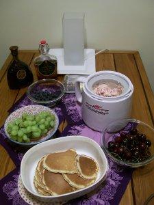 Crepes, fruit, ice cream