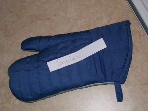 Jennifer's name drawn from the oven mitt
