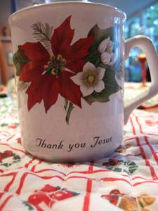 """thank you jesus"" mug"