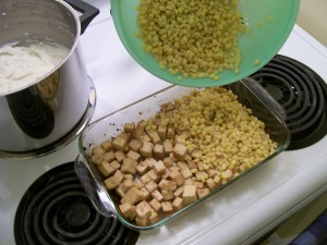 Tofu with corn kernels